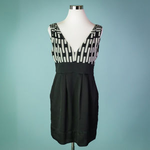 BCBGeneration 8 Black White Geometric Dress